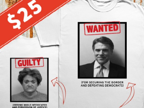 RICK PERRY FUNDRAISES BY SELLING SHIRTS WITH HIS MUGSHOT!