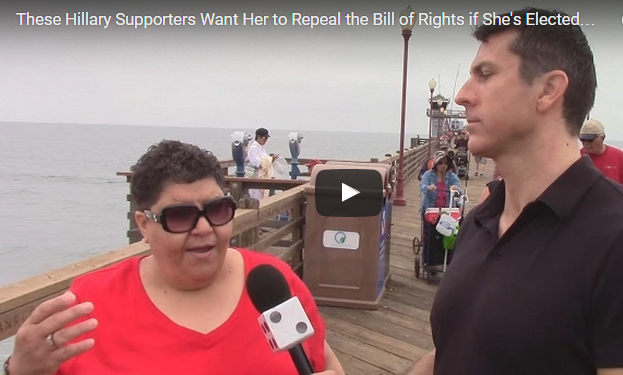 MORON ALERT: Hillary Sheeple Caught On Tape Blindly Agreeing To Repeal The Bill Of Rights… [WATCH]