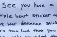 ALERT: Purple Heart Veteran Finds Jihad Threat On His Windshield… This Is Disgusting