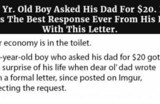 6 Yr. Old Boy Asks His Dad For $20, Then Gets The BEST Response Ever From His Dad With This Letter…