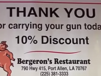 THIS IS AWESOME! LOUISIANA RESTAURANT OFFERS DISCOUNT FOR PACKING HEAT!