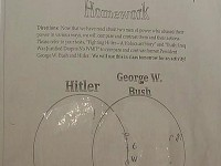 TEACHER WANTS STUDENTS TO COMPARE BUSH TO HITLER